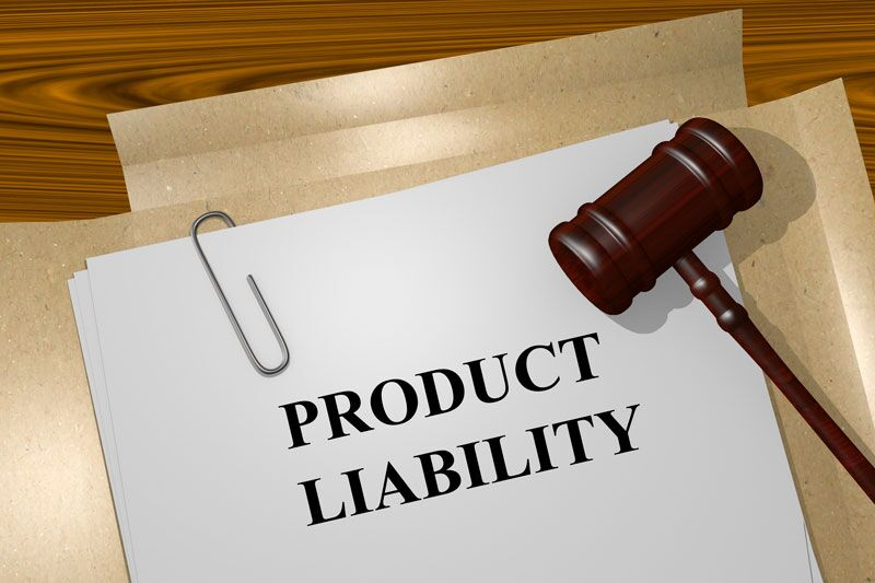 "file titles ""product liability"" resting next to a gavel, reduce your risk for a product liability issue"