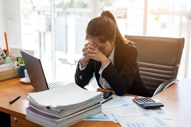 A girl feeling stressed